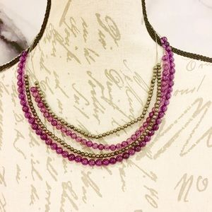 Purple and Pewter Tone Necklace